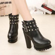 供应欧美风女靴 防水台粗跟女靴子高跟及踝靴 金属装饰皮带扣女短靴