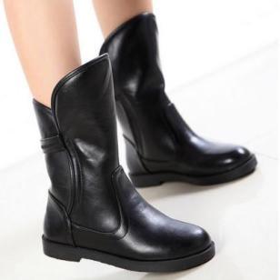厚底平跟欧美圆头羊毛加绒靴子女靴图片