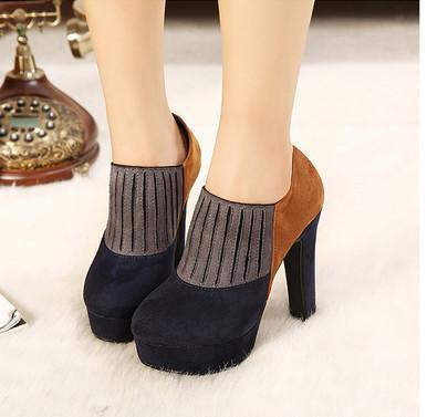供应2013春秋靴子英伦女靴子高跟粗跟短靴拼接撞色欧美单靴圆头马丁靴