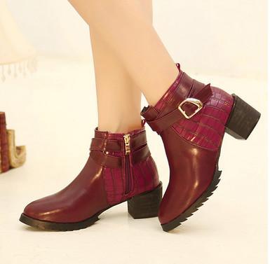 供应2013新款秋冬英伦粗跟机车女靴马丁靴韩版短靴裸靴高跟靴子 女