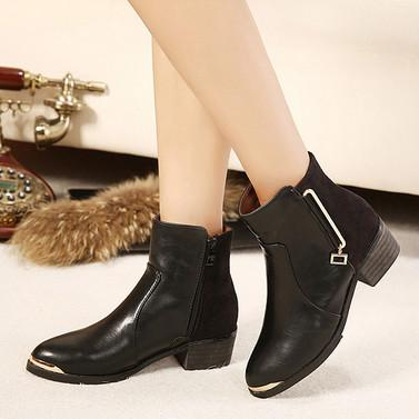 供应欧美英伦最新单品韩国风马丁靴秋冬短靴女金属装饰中跟拼色 女靴