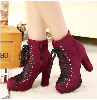 供应2013秋冬欧美系带高跟鞋粗跟鞋防水台短靴及裸靴女单鞋 骑士靴子
