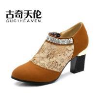 春秋季新款蕾丝网布女水钻高跟鞋子
