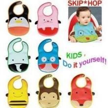 供应新款skip hop卡通动物造型免洗围兜 宝宝必备围嘴立体防水吃