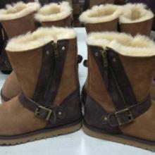 供应羊皮毛一体中筒侧拉链雪地靴 英伦范女款防水光面保暖羊毛靴批发