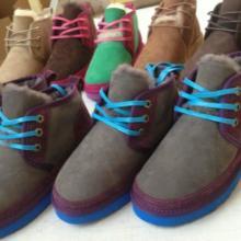 供应进口灰色羊皮毛一体女款系带鞋 保暖时尚情侣款大量批发