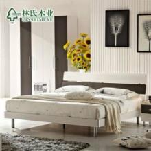 林氏木业板式床简约现代1.21.51.8米双人床硬板大床家具批发