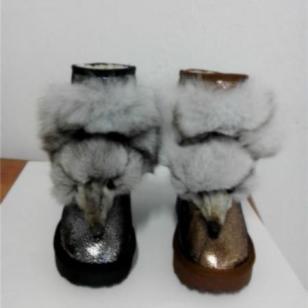 哈密瓜纹皮狐狸头雪地靴棉鞋图片