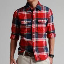 秋冬男装新款全棉美式男装衬衫长袖修身格子衬衣批发