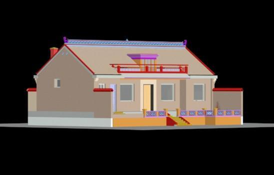 供应一层农村房屋设计图纸效果图施工图一层自建房图纸一层平房图纸