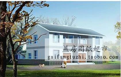 效果图 效果图供货商 经典二层双拼设计图农村联排二层农村房屋设计高清图片