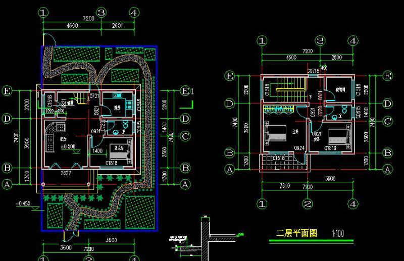 二层别墅房屋自建房住宅楼房设计图纸效果图全套cad施工图041高清图片