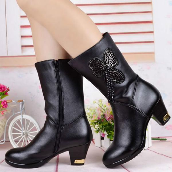 供应欧美风格真皮女靴中筒品牌女鞋冬季棉女靴子皮革靴全国招商加盟