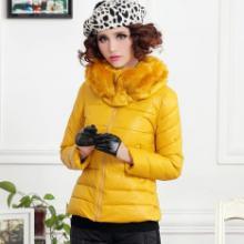 供应女士韩版新款修身毛领短款棉衣外套批发