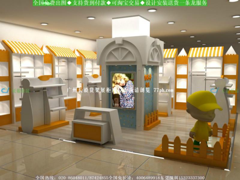 韩版童装店设计国外童装店面设计效果图童装店装修货架展柜图-韩版