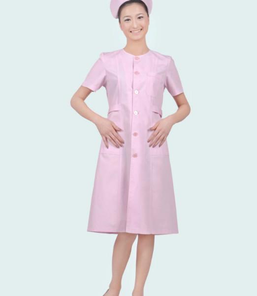 无领明扣修身夏季粉色护士服ps-017图片大全