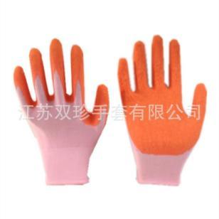 13针尼龙橙色乳胶起皱手套图片