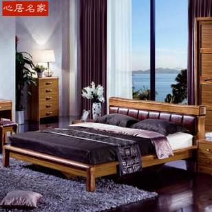 心居名家实木双人床现代中式虎斑木图片