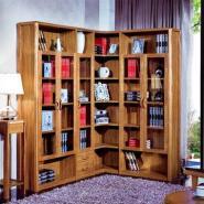 心居名家虎斑木实木框架书柜组合图片