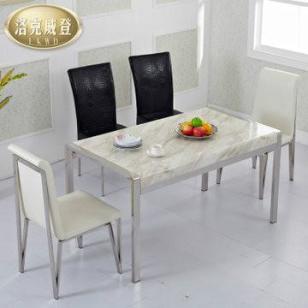 洛克威登不锈钢餐桌白色大理石餐桌图片