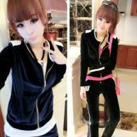 韩版女式金丝绒卫衣套装休闲运动服