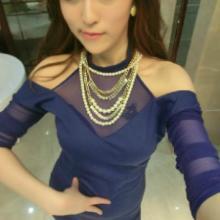 供应女性感网纱长袖镂空蕾丝雪纺连衣裙批发