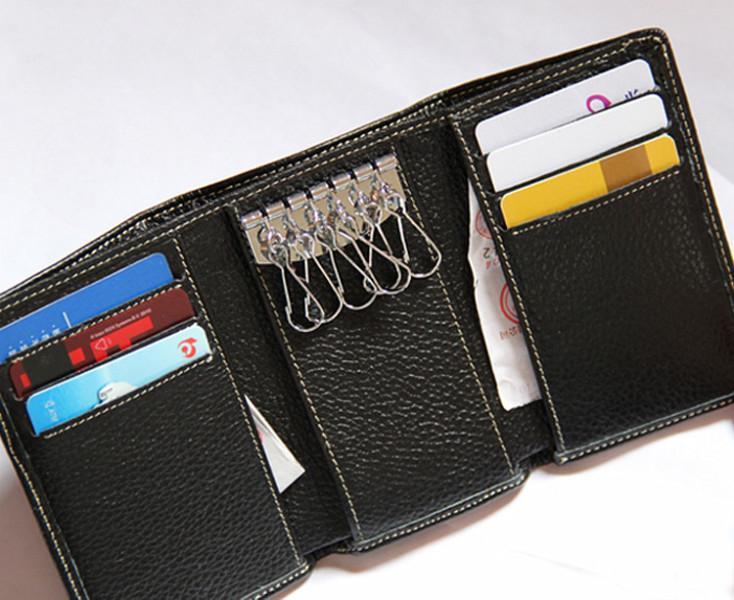 批发定制时尚牛皮多卡位钥匙钱包 真皮荔枝纹实用钱包卡包