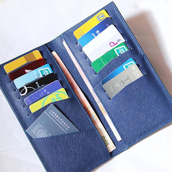 供应上海定做生产英伦牛皮十字纹护照夹