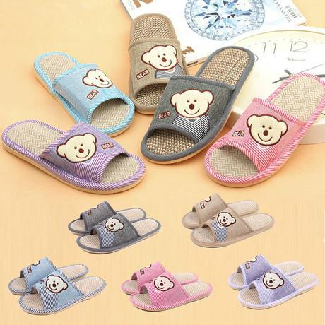 供应新款韩版可爱小熊头亚麻 防滑软底拖鞋 情侣家居拖鞋
