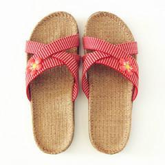 金硕亚麻拖鞋 女士家居拖鞋 防滑地板拖