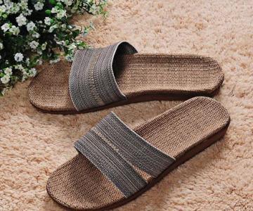 米奇菱居家拖鞋亚麻拖鞋家居拖鞋夏季凉拖防滑地板拖鞋图片