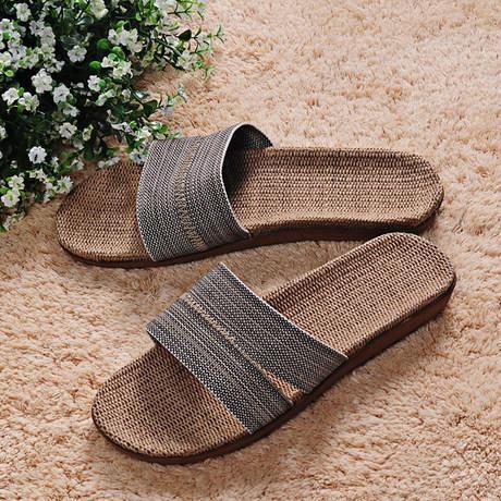 米奇菱居家拖鞋亚麻拖鞋家居拖鞋夏季凉拖防滑地板拖鞋