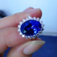 供应戴安娜王妃款天然坦桑石戒指18K白金坦桑蓝戒指