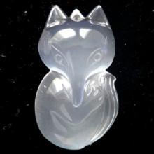 供应天然兔毛晶雕件兔毛晶狐狸吊坠挂件