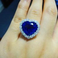 供应 天然坦桑石戒指18K白金钻石戒指海洋之心戒指心形女戒