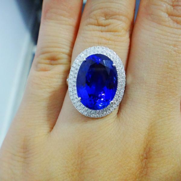 供应18K白金坦桑戒指天然坦桑蓝宝石