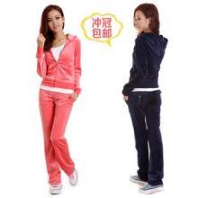 新款韩版天鹅绒休闲运动套装女装秋冬时尚纯色卫衣明星同款包邮批发