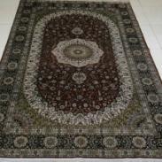 喜庆红圆葵花瓶式蚕丝手工地毯地垫图片
