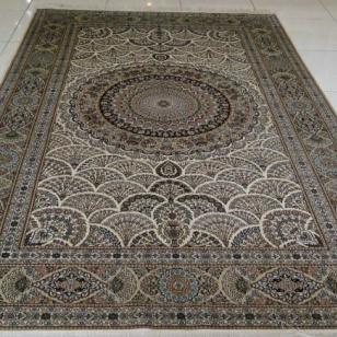 新品上架葵园扇形手工蚕丝毯图片