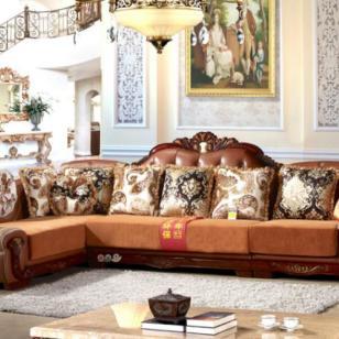 转角欧式小户型皮布沙发组合图片