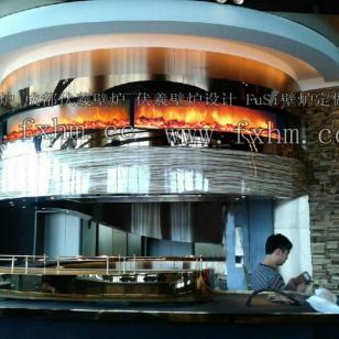 大堂壁炉弧形壁炉酒店巨型壁炉图片