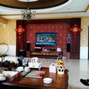 成都都江堰别墅客厅电视柜伏羲壁炉图片