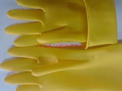 供应加厚牛筋耐酸耐碱纯乳胶工业手套,加厚牛筋手套