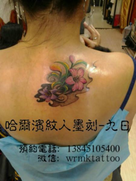 哈尔滨纹身彩色花朵纹身作品图片