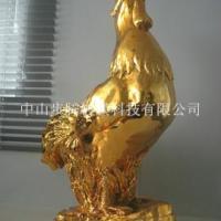 供应电镀金色雄鸡树脂玻璃钢摆设工艺品/电镀树脂工艺品