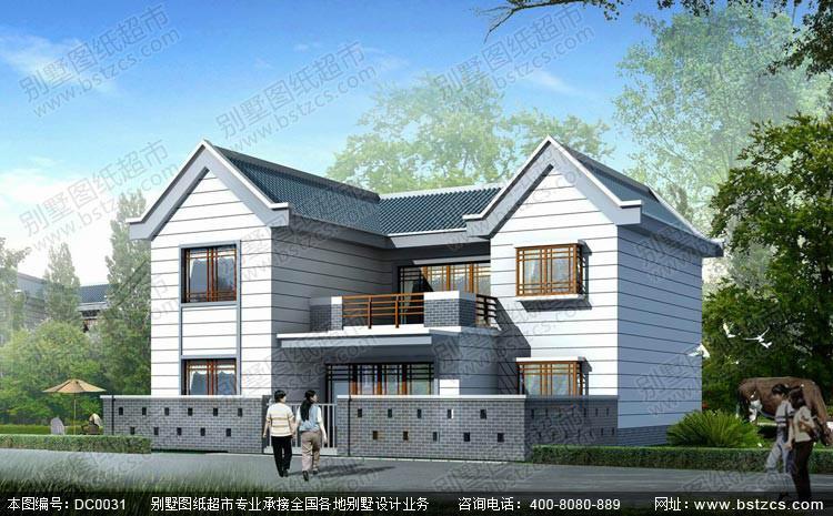 新农村2层自建房别墅设计施工图 双拼别墅-新农村自建房设计图 农村图片